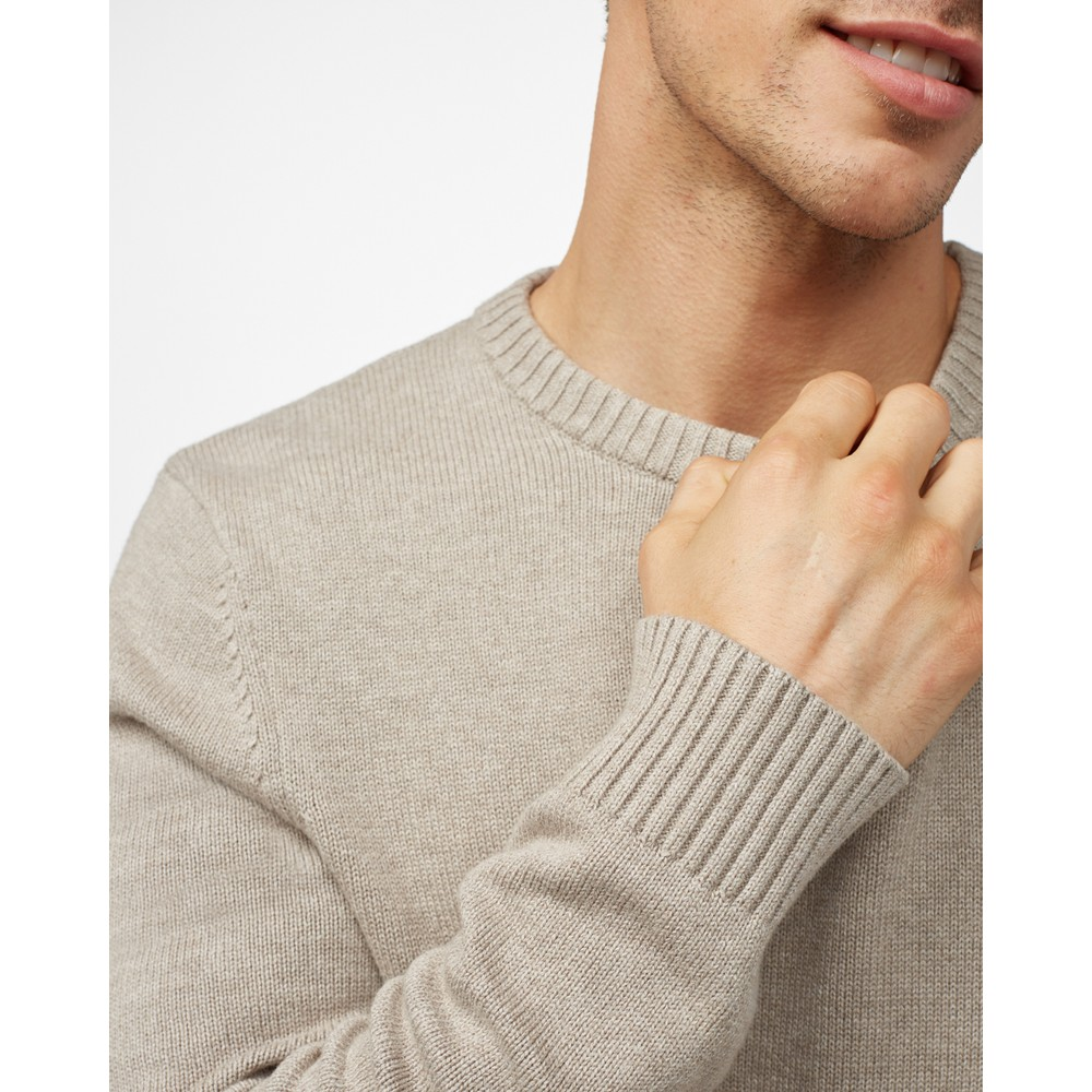 tentree Highline Cotton Crew Sweater Mens Desert Taupe Heather
