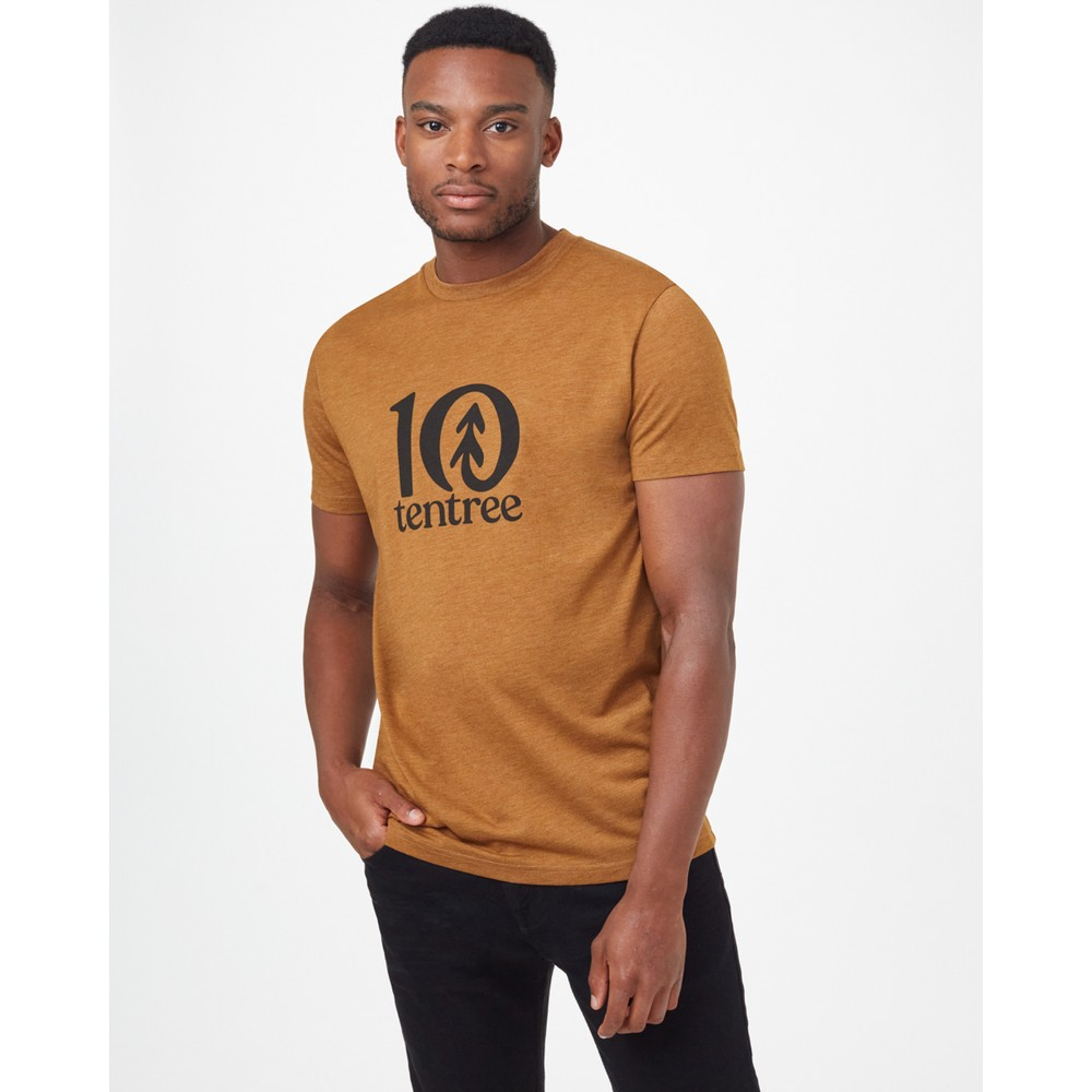 tentree Logo Classic T-Shirt Mens Rubber Brown Heather
