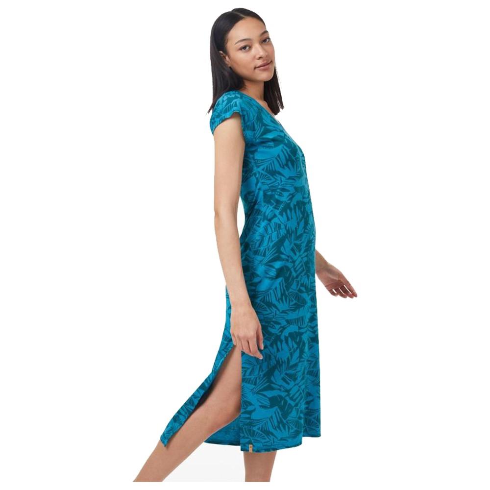 tentree Pipa Maxi Dress Womens Blue Lake Blue Heather - Tonal Leaf AOP