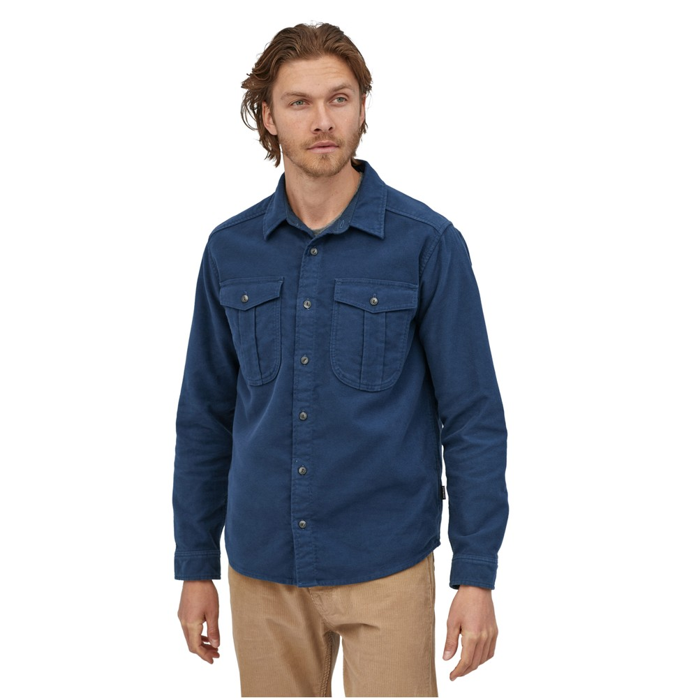 Patagonia LS Topo Canyon Moleskin Shirt Mens Stone Blue