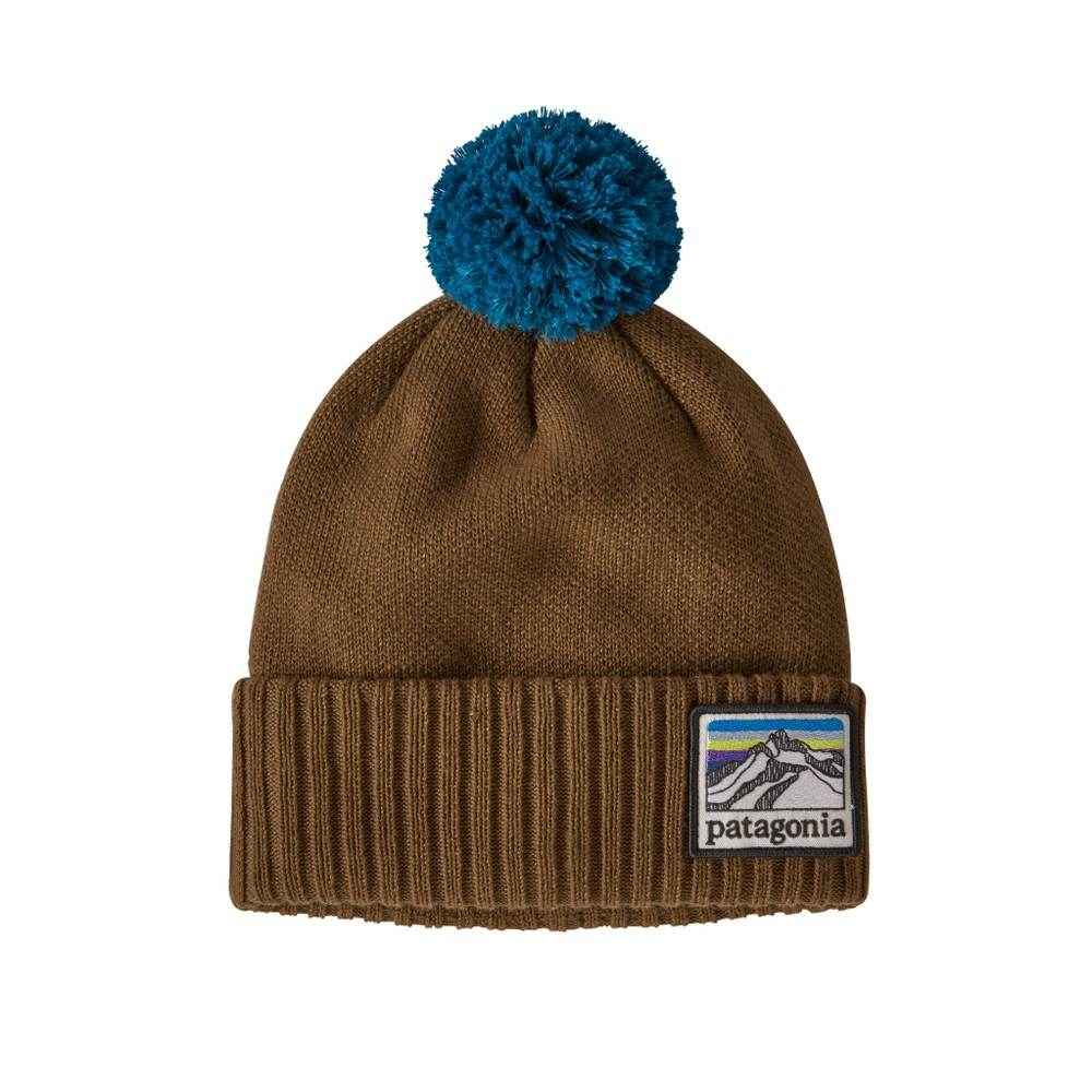 Patagonia Powder Town Beanie Line logo Ridge: Mulch Brown