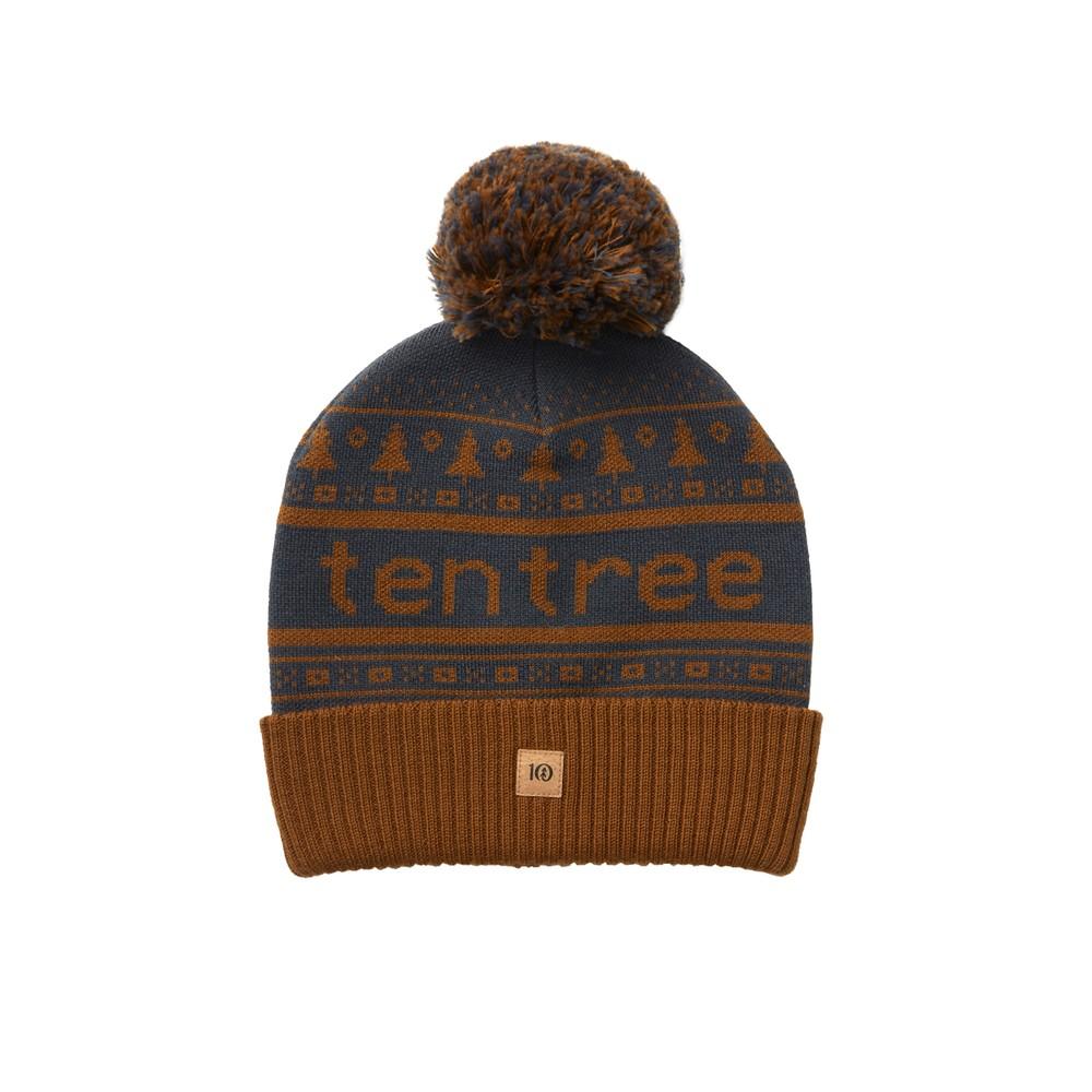 tentree Cabin Beanie Dark Ocean Blue/Rubber Brown