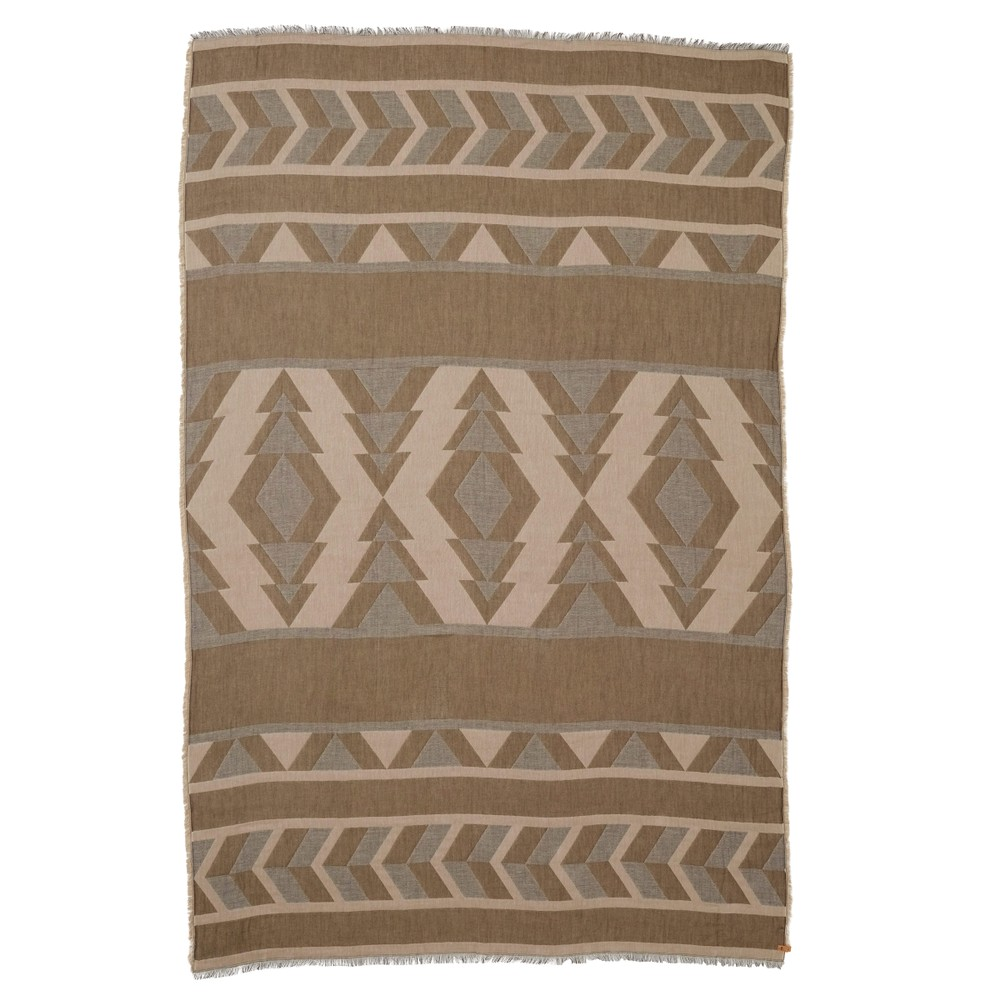 tentree Cotton Intarsia Blanket Scarf Elm White/Desert Taupe