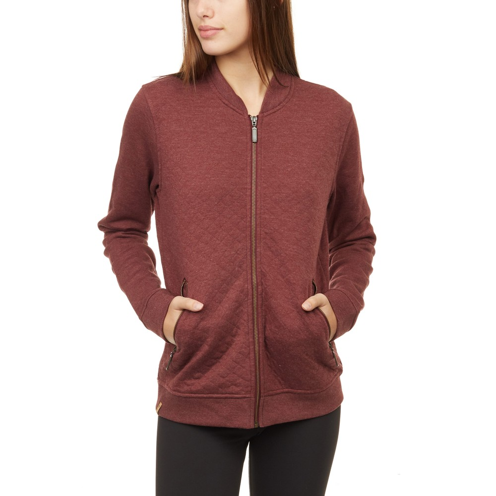 tentree Tulita Quilted Bomber Jacket Womens Red Mahogany Heather