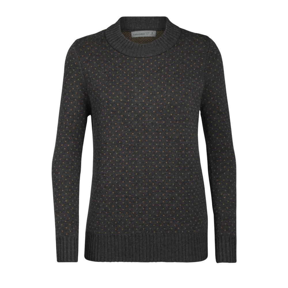 Icebreaker Waypoint Crewe Sweater Womens Charcoal Hthr/Saffron Hthr