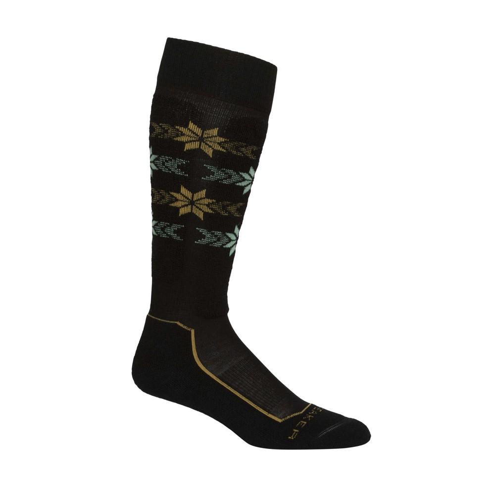 Icebreaker Ski  Light OTC Alpine Stripe Sock Womens Black/Curry