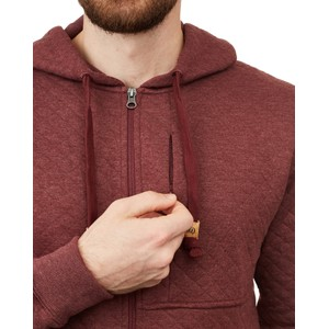 Quilted Zip Hoodie Mens Red Mahogany Heather