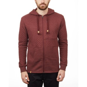 tentree Quilted Zip Hoodie Mens in Red Mahogany Heather