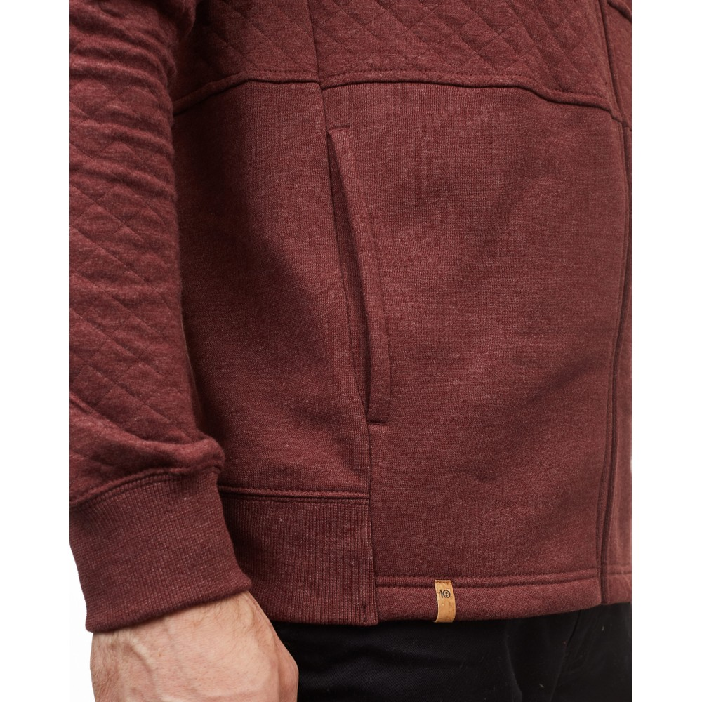 tentree Quilted Zip Hoodie Mens Red Mahogany Heather