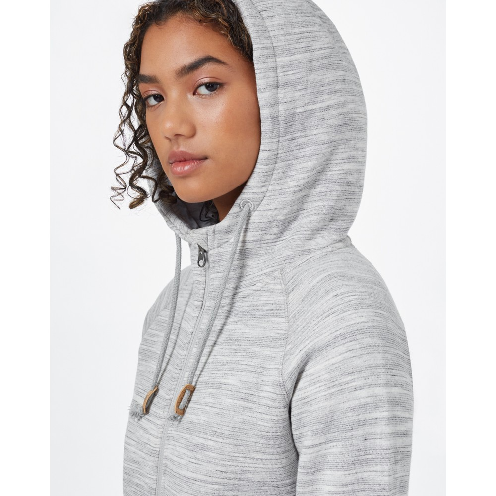 tentree Burney Zip Hoodie Womens Hi Rise Grey Space Dye