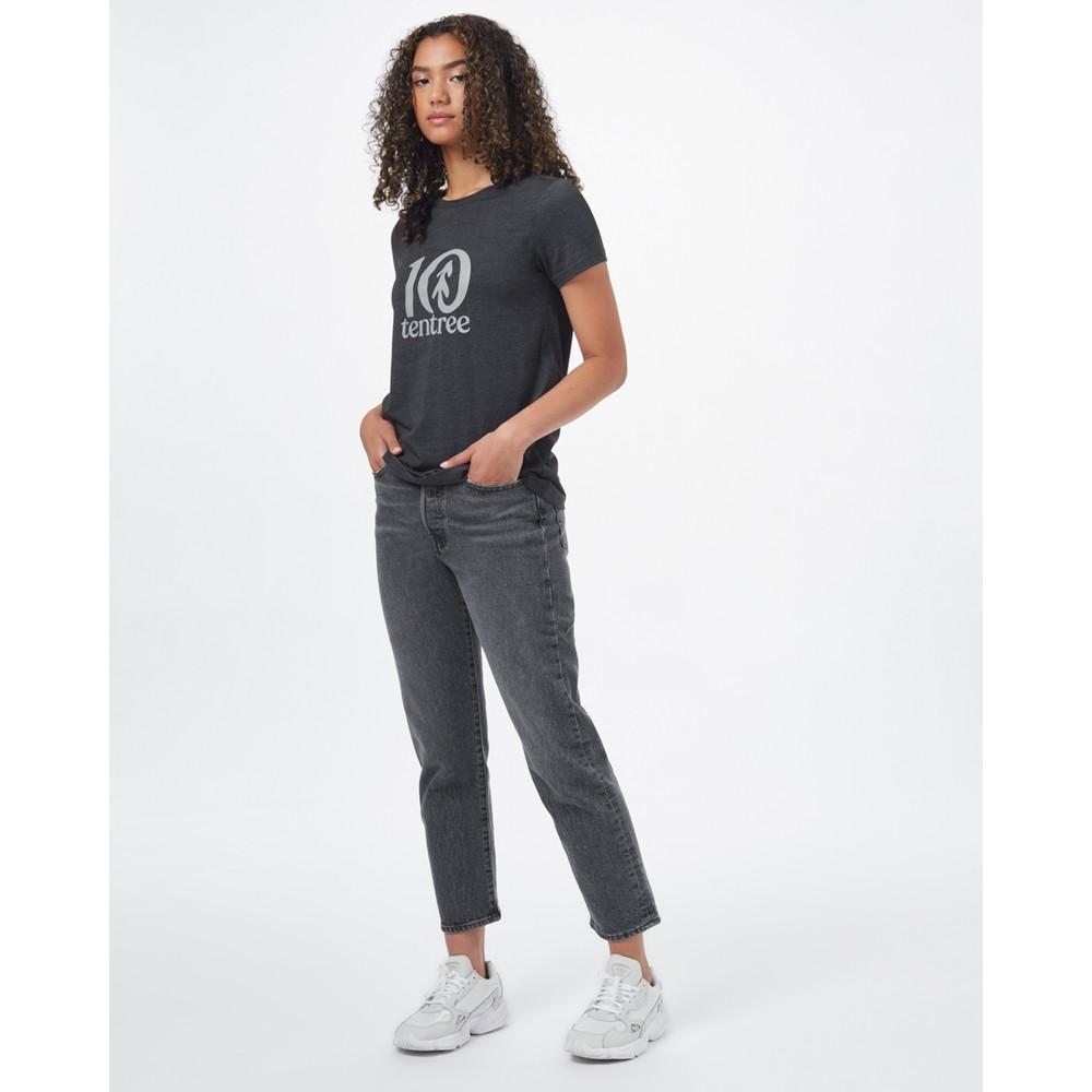 tentree Logo Classic T-Shirt Womens Meteorite Black
