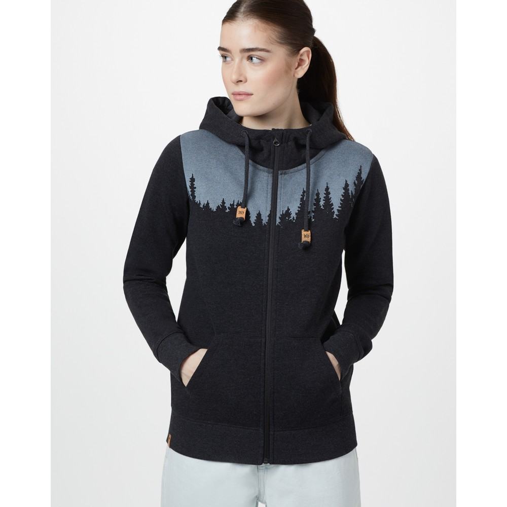 tentree Juniper Zip Hoodie Womens Meteorite Black Heather