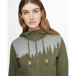 tentree Juniper Zip Hoodie Womens in Olive Night Green Heather