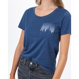 tentree Juniper Pocket T-Shirt Womens in Dark Ocean Blue Heather