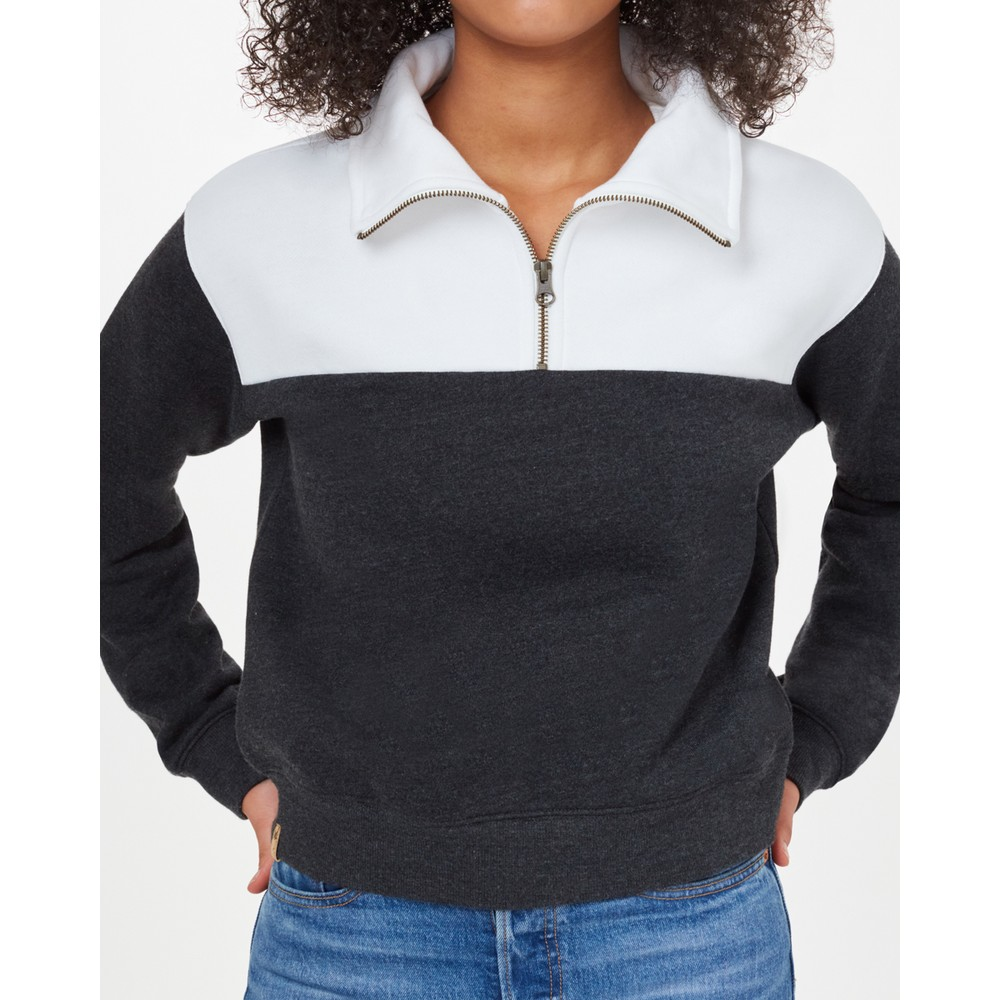 tentree Blocked 1/4 Zip Fleece Womens Meteorite Black Heather/White