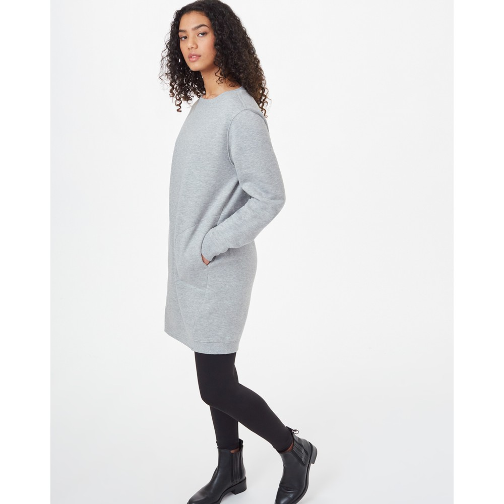 tentree Fleece Crew Dress Womens Hi Rise Grey Heather