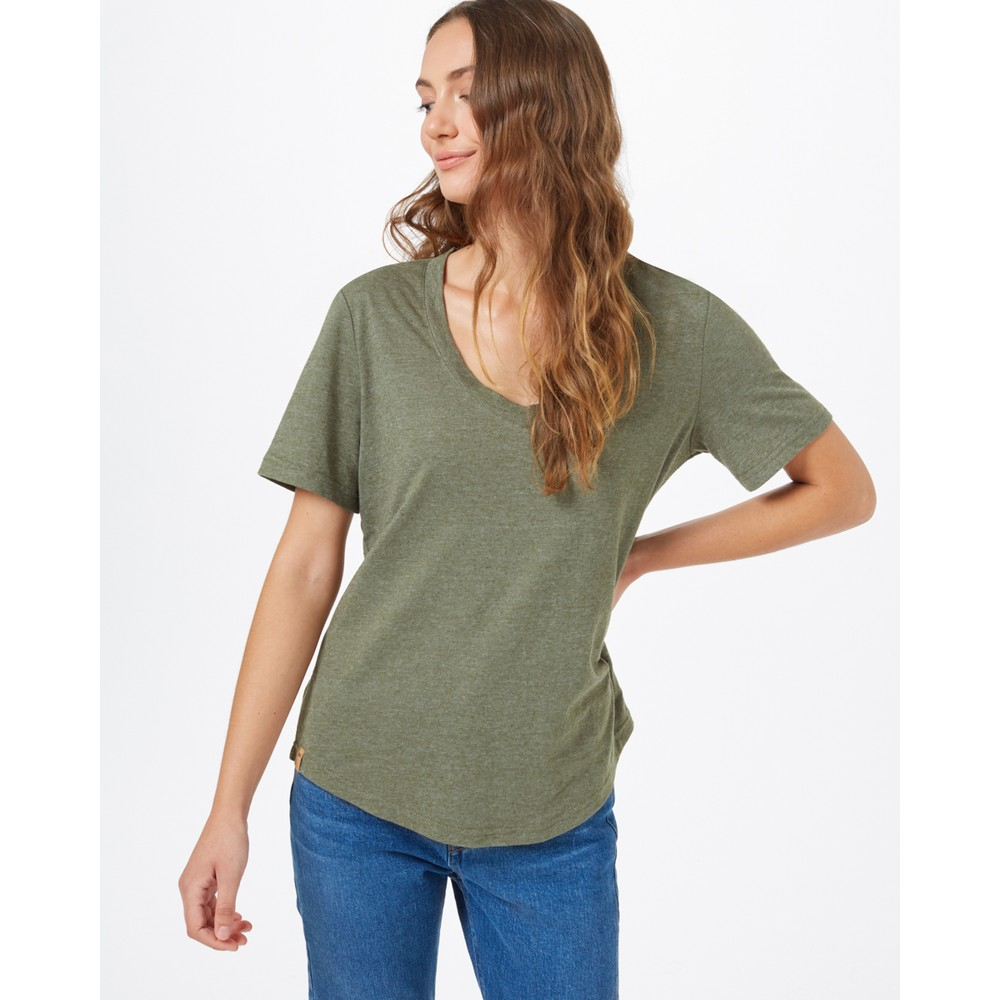 tentree Hemp V-Neck T-Shirt Womens Olive Night Green