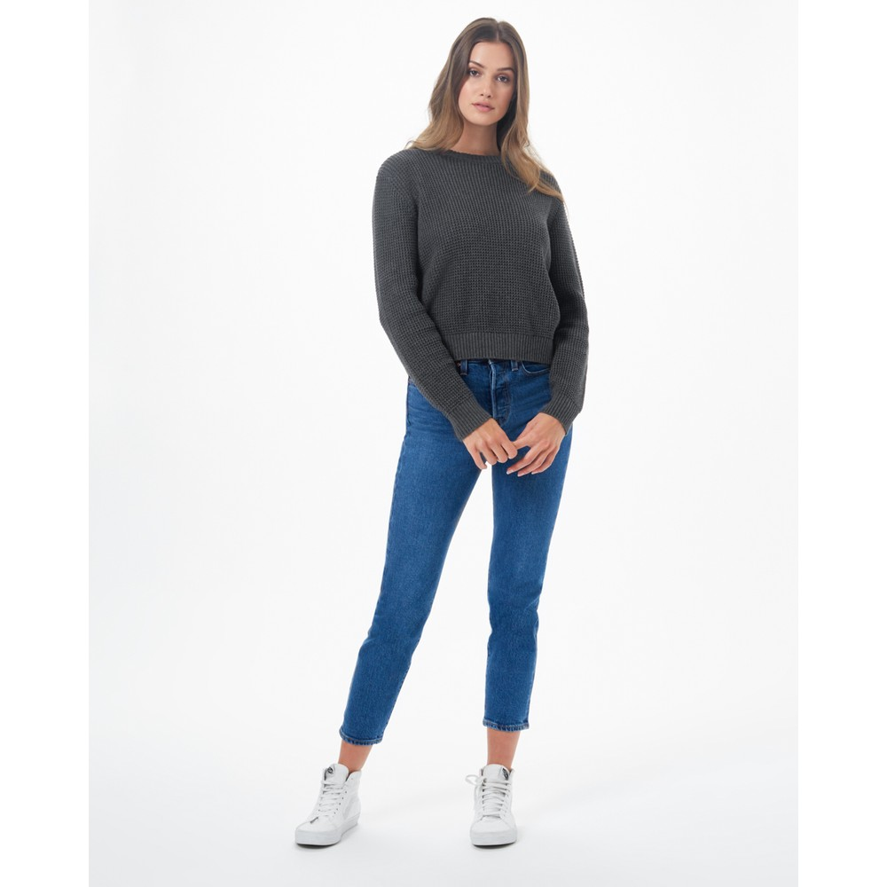 tentree Highline Cotton Crew Sweater Womens Dark Grey Heather
