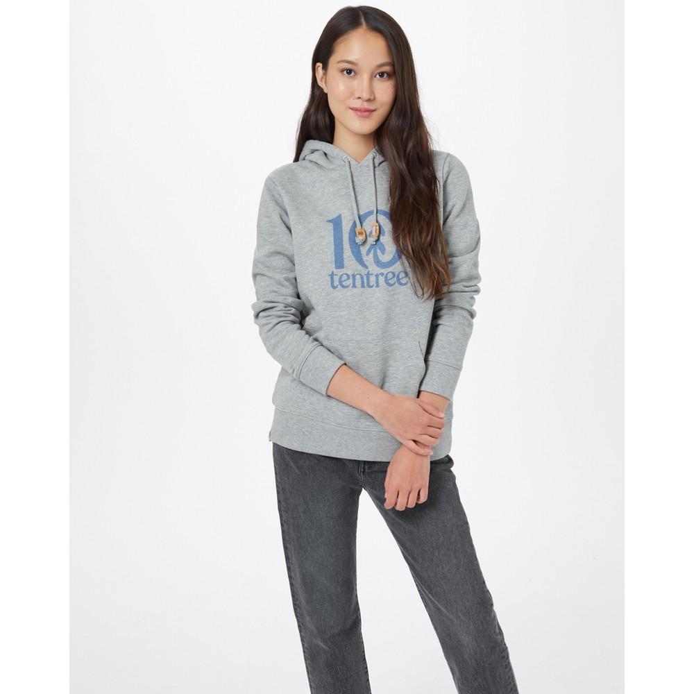 tentree Logo Classic Hoodie Womens Hi Rise Grey Heather
