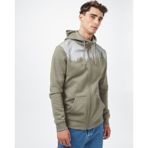 tentree Juniper Zip Hoodie Mens in Vetiver Green Heather