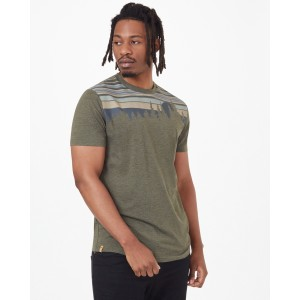 tentree Retro Juniper Classic T-Shirt Mens in Olive Night Green Heather