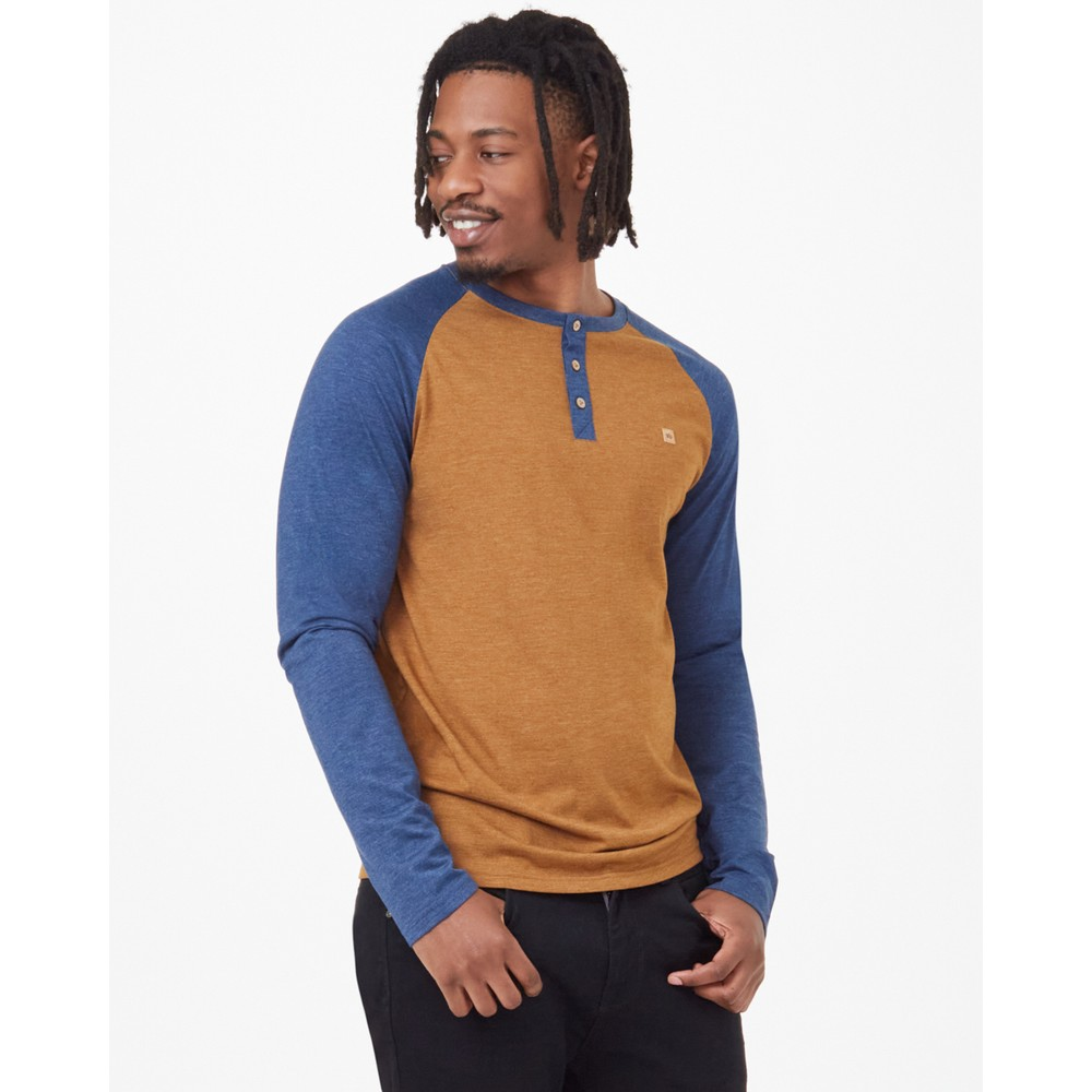 Tendon Ropes Henley Classic Longsleeve Mens Rubber Brown Heather/Dark Ocean Blue Heather