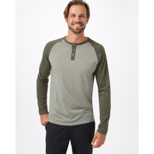Tendon Ropes Henley Classic Longsleeve Mens in Vetiver Green Heather/Olive Night Green Heather