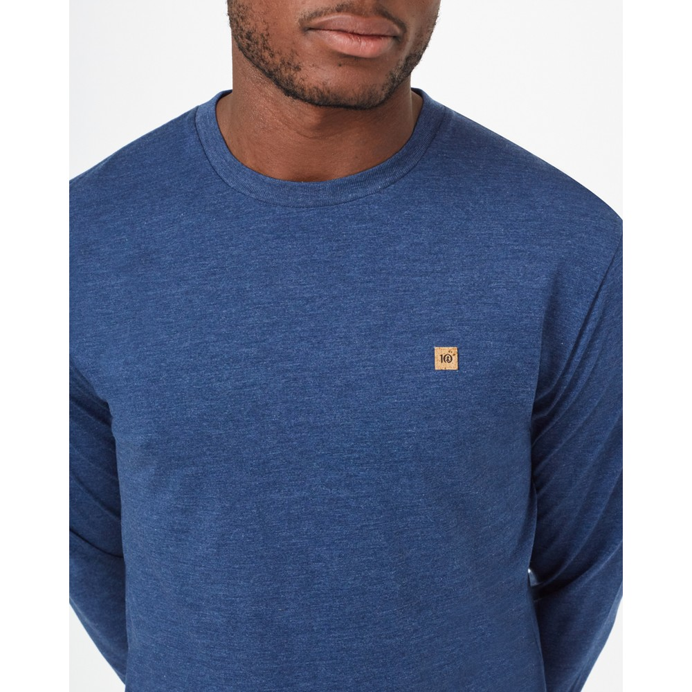 tentree TreeBlend Classic Longsleeve Shirt Mens Dark Ocean Blue Heather