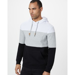 tentree TreeFleece Blocked Reynard Hoodie Mens in White/Hi Rise Grey/Meteorite Black