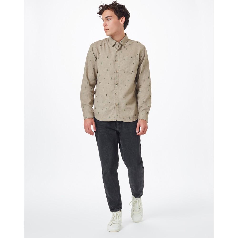 tentree Sasquatch Mancos Longsleeve Shirt Mens Desert Taupe Sasquatch Print