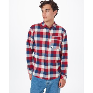 tentree Benson Flannel Shirt Mens in Dark Ocean Blue Campfire Plaid