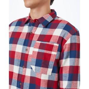 Benson Flannel Shirt Mens Dark Ocean Blue Campfire Plaid