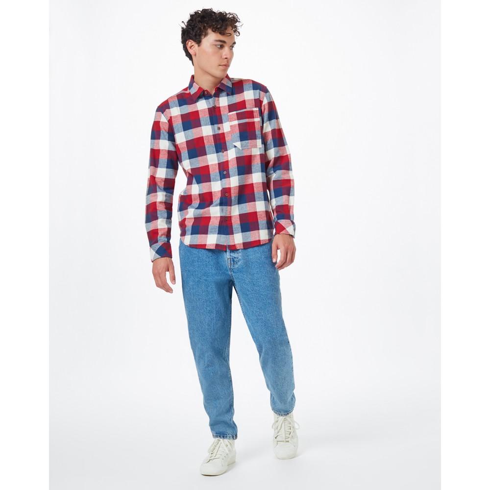 tentree Benson Flannel Shirt Mens Dark Ocean Blue Campfire Plaid