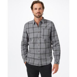 tentree Benson Flannel Shirt Mens in Gargoyle Grey Tree Plaid