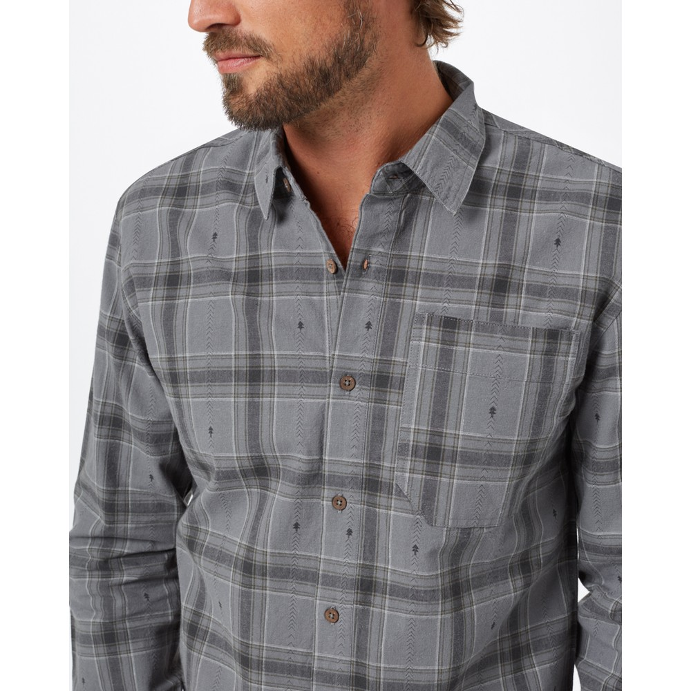 tentree Benson Flannel Shirt Mens Gargoyle Grey Tree Plaid