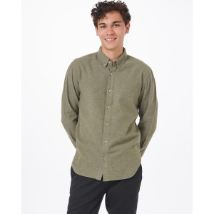 tentree Veddar Flannel Shirt Mens in Olive Night Green