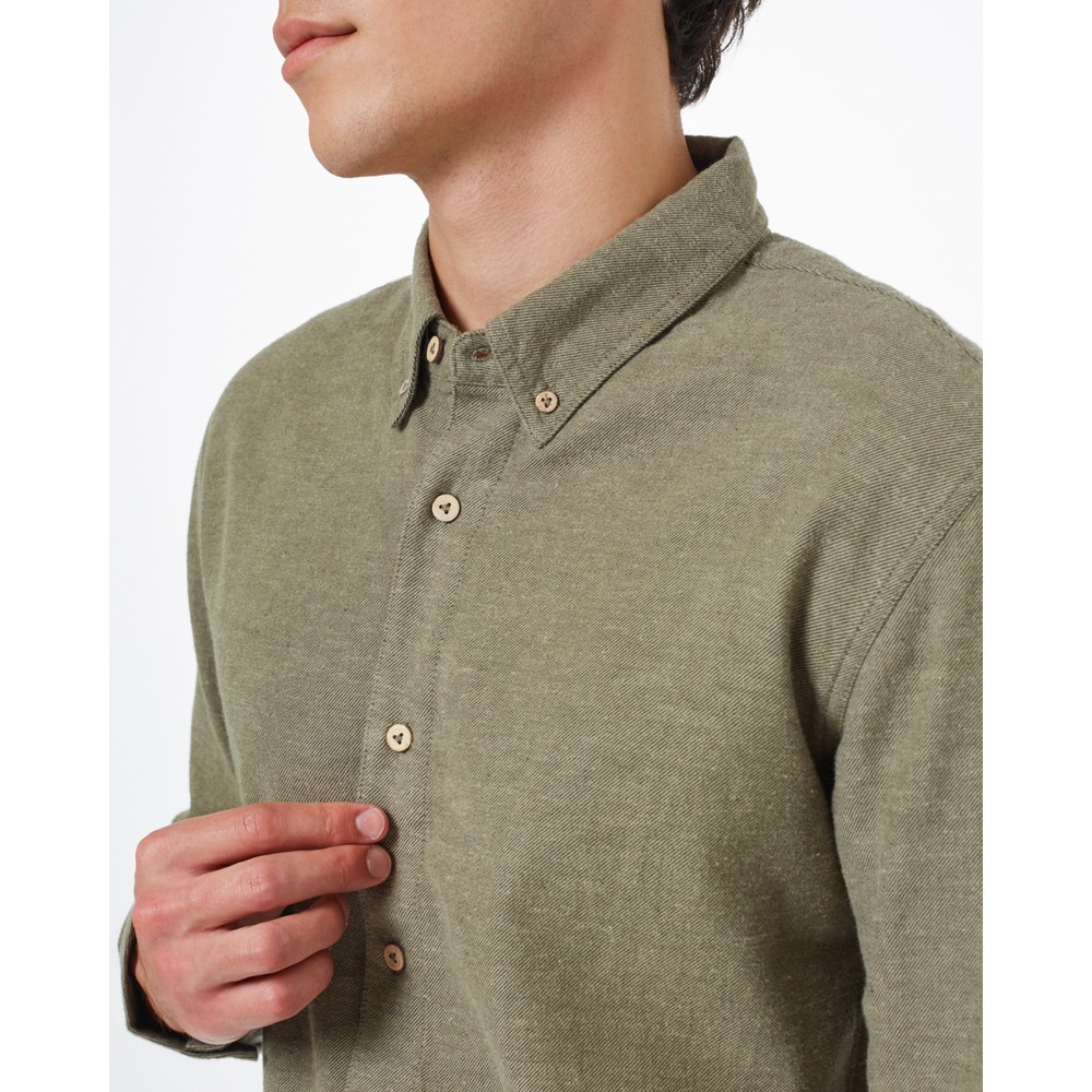 tentree Veddar Flannel Shirt Mens Olive Night Green