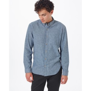 tentree Veddar Flannel Shirt Mens in Dark Ocean Blue