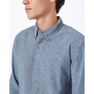 Veddar Flannel Shirt Mens Dark Ocean Blue