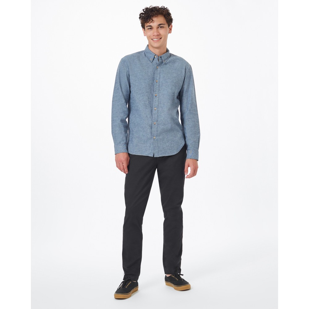 tentree Veddar Flannel Shirt Mens Dark Ocean Blue