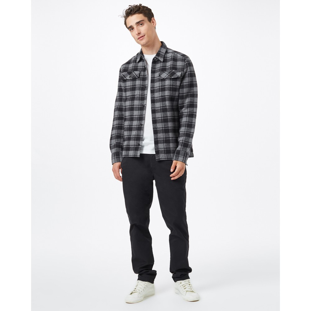 tentree Heavy Weight Flannel Shirt Mens Meteorite Black Retro Plaid