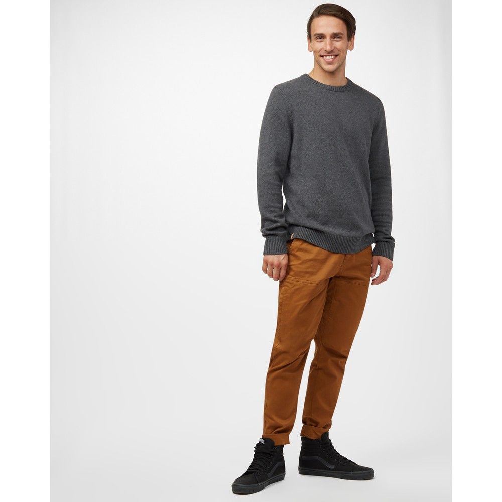 tentree Highline Cotton Crew Sweater Mens Dark Grey Heather