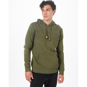 tentree Geo Mountain Classic Hoodie Mens in Olive Night Green Heather