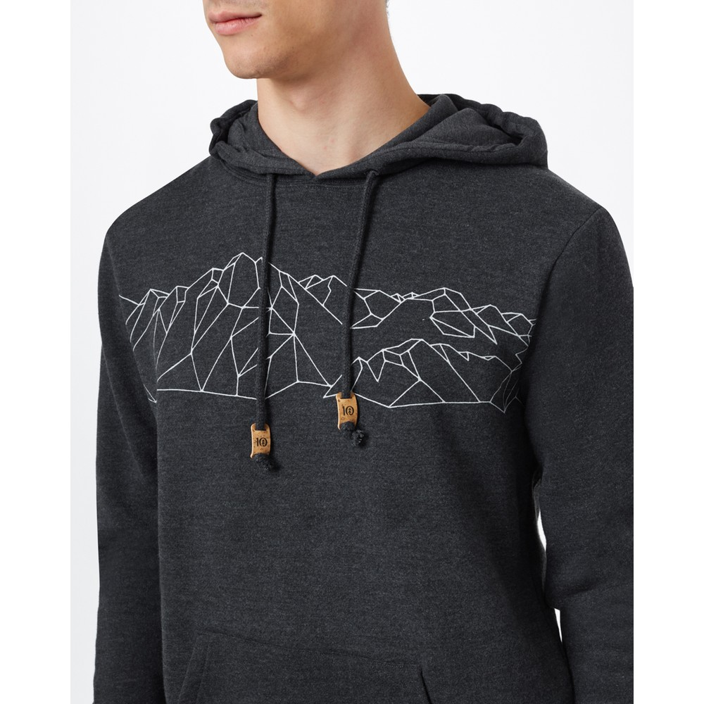 tentree Geo Mountain Classic Hoodie Mens Meteorite Black Heather
