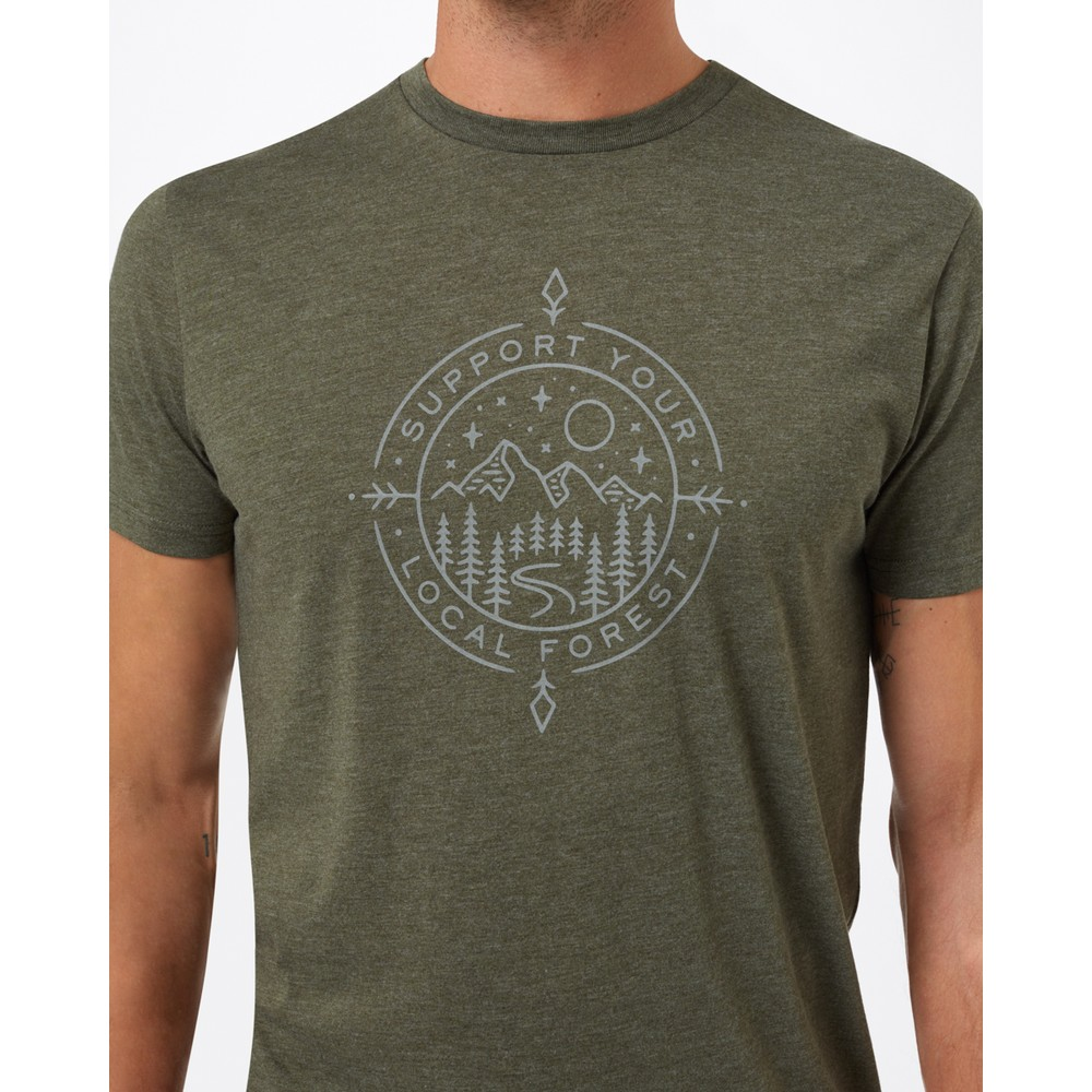 tentree Support Classic T-Shirt Mens Olive Night Green Heather