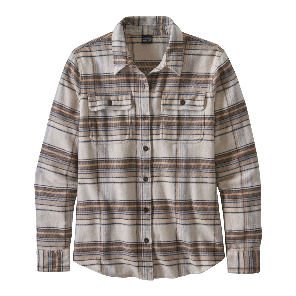 Patagonia LS Fjord Flannel Shirt Womens Cabin Time: Birch White
