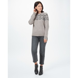 tentree Highline Wool Intarsia Sweater Womens in Desert Taupe Heather
