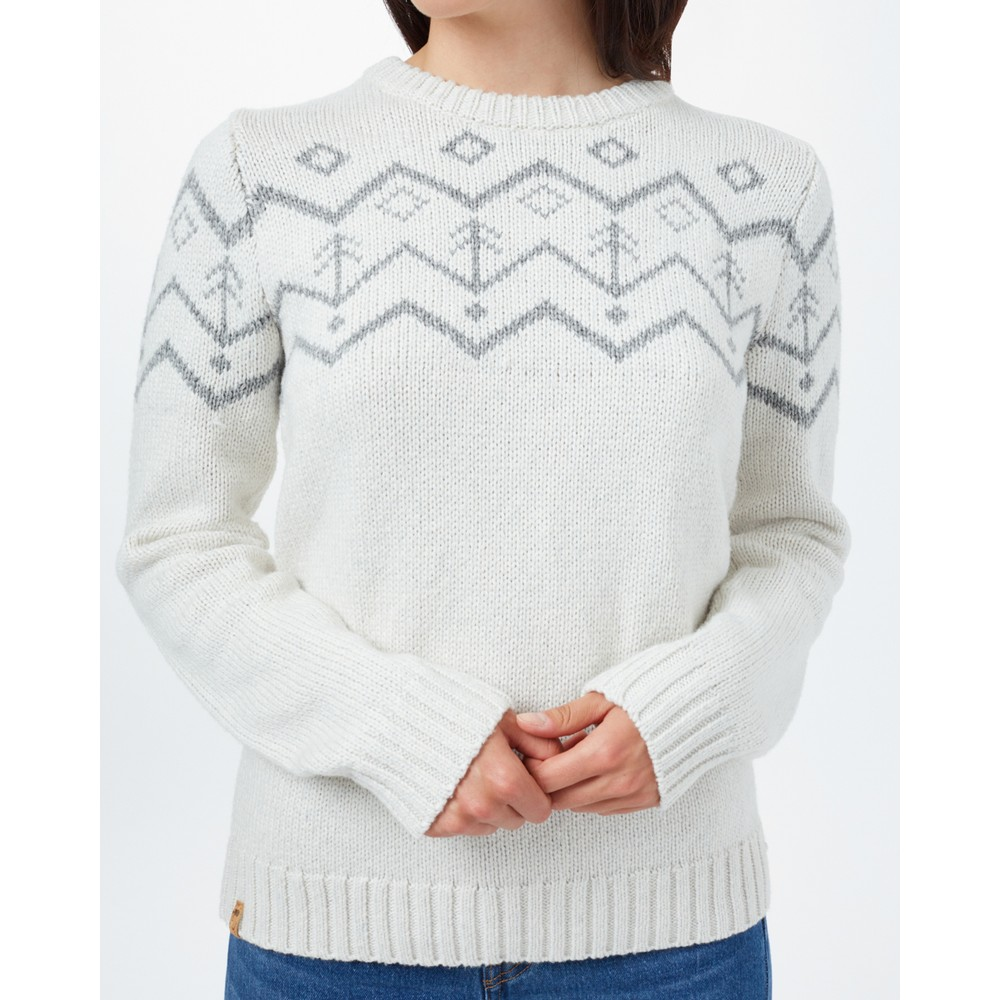 tentree Highline Wool Intarsia Sweater Womens Elm White Heather