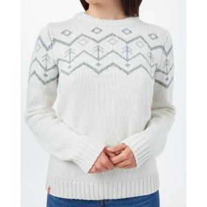 tentree Highline Wool Intarsia Sweater Womens in Elm White Heather