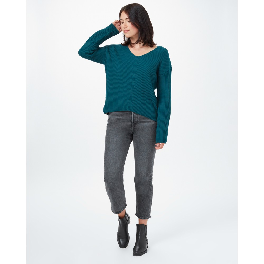 tentree Highline Cotton V-Neck Sweater Womens Deep Teal